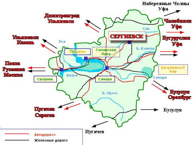 Карта Сергиевского района
